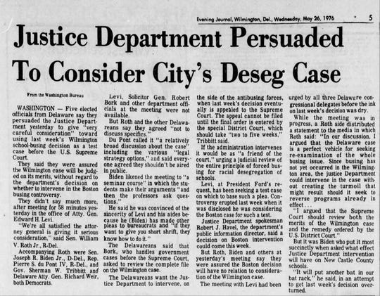 Biden as senator helped organize a group to encourage Justice Department intervention in a court case over the Wilmington school desegregation plan, in this News Journal archival story on May 26, 1976