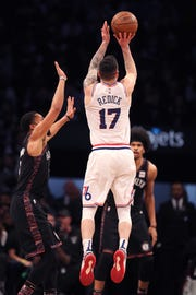 JJ Redick #17 of the Philadelphia 76ers shoots in the second quarter against the Brooklyn Nets during game three of Round One of the 2019 NBA Playoffs at Barclays Center on April 18, 2019 in the Brooklyn borough of New York City.