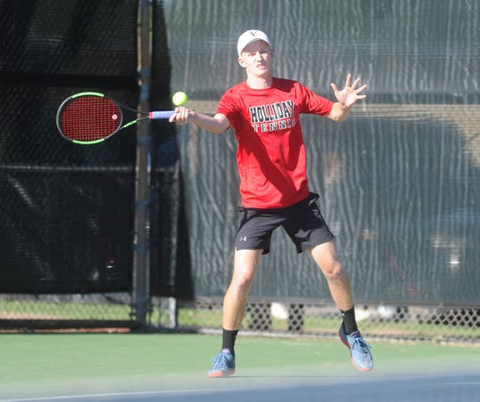 Holliday's Tyler Webb lost in the Region I-4A boys singles finals but is going to state.