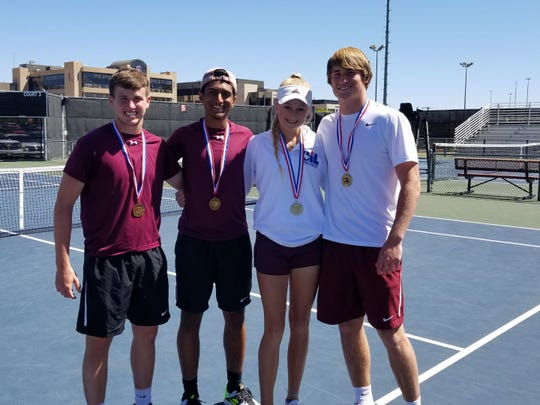 Vernon's Broc Kieschnick and  Rahul Bhakta (left) took third in I-4A mixed doubles, while Sarah Castleberry and BT White (right) won the regional mixed doubles title.