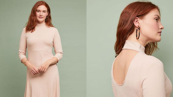 A posh turtleneck dress will be your next go-to for brunch.