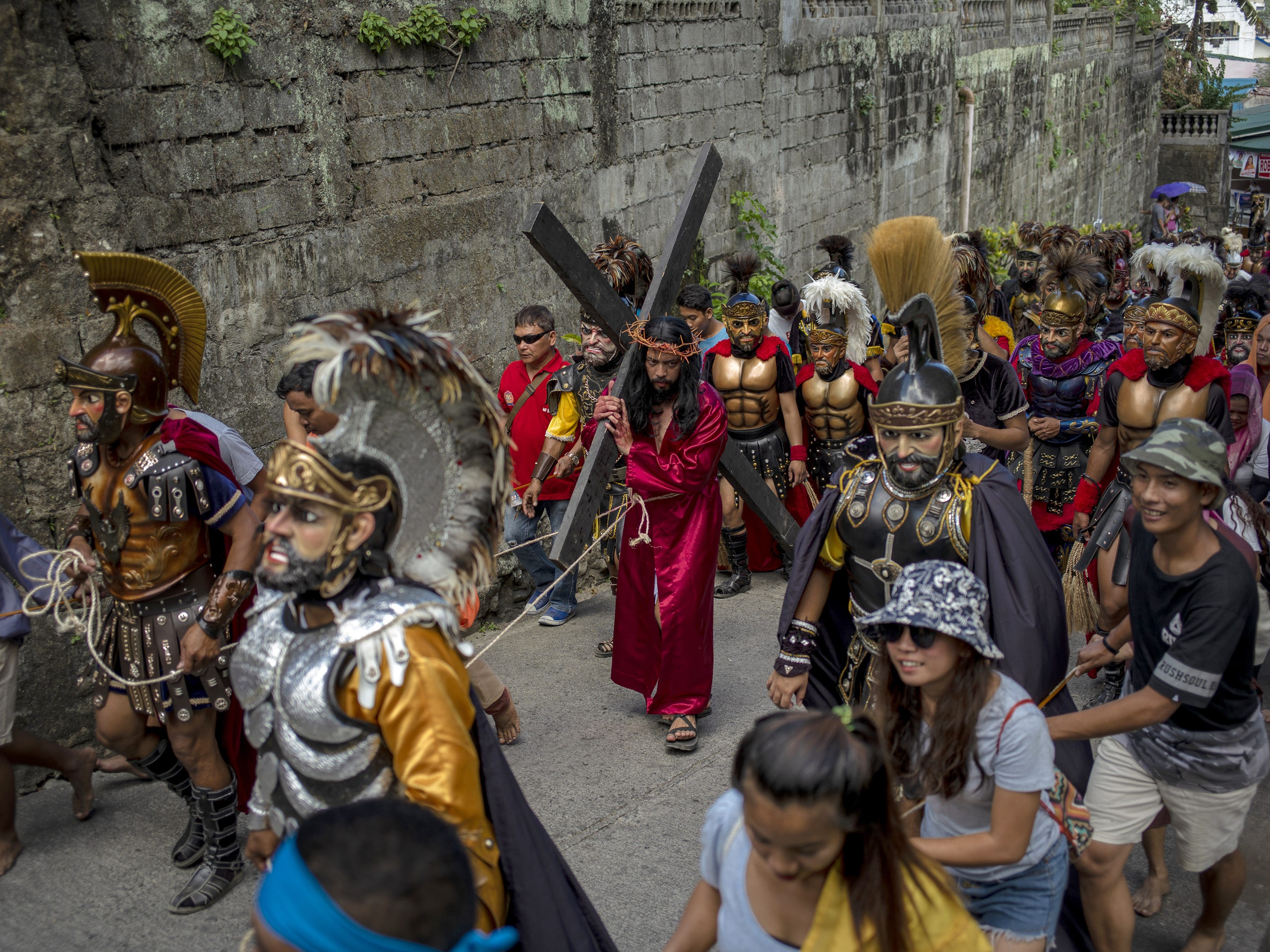 Residents perform the Passion of the Christ on April 19, 2019 in Boac, Marinduque in the Philippines. The Philippines, a predominantly Catholic country in Southeast Asia, join other Catholic nations in observance of holy week.