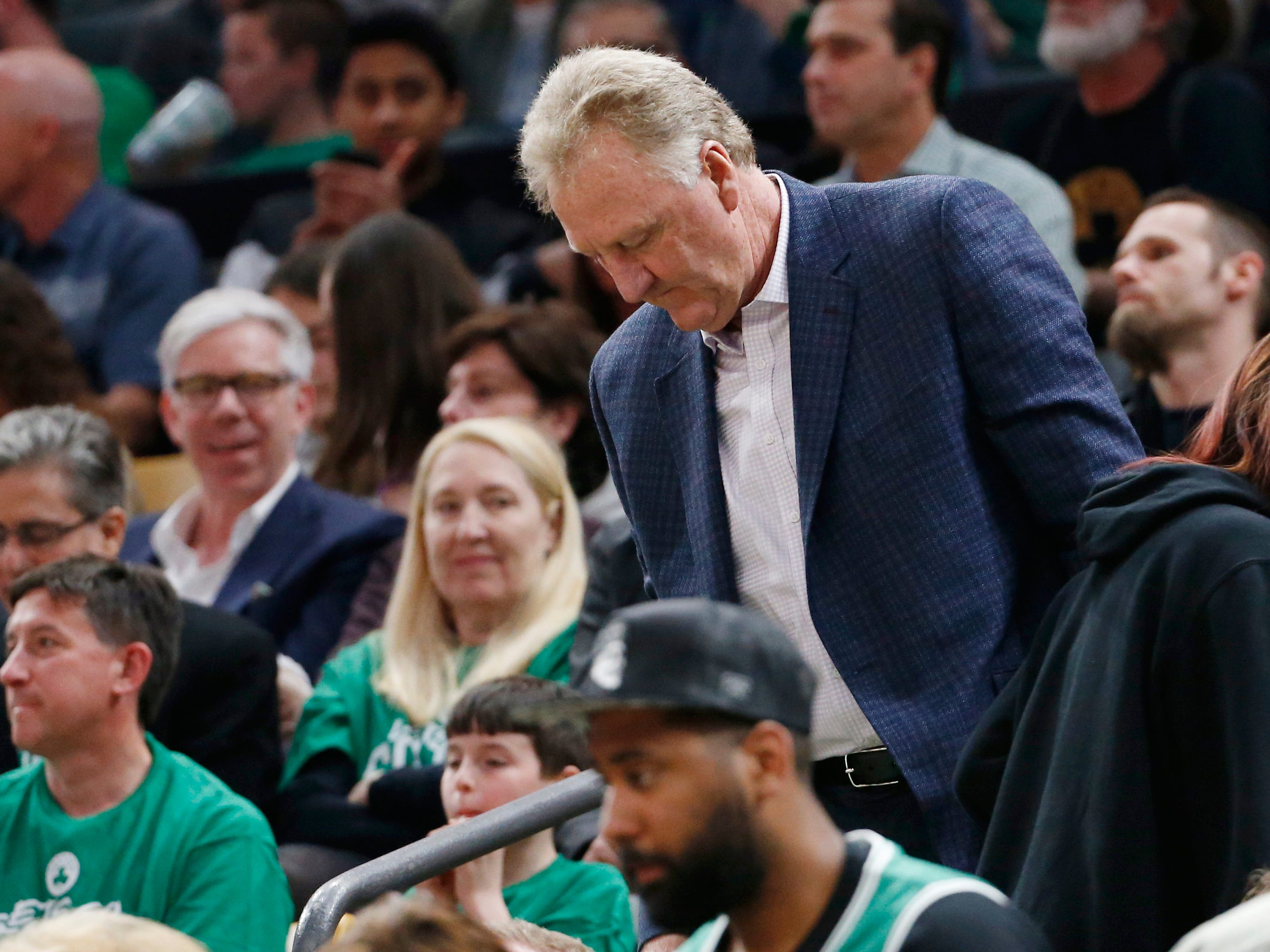 April 17: Celtics legend Larry Bird in the stands during Game 2 between the Celtics and Pacers in Boston.
