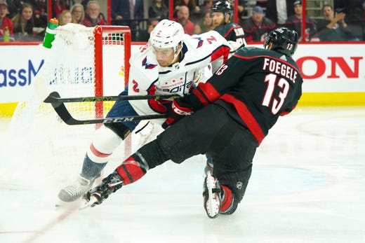 First round: Hurricanes left wing Warren Foegele scores 17 seconds into Game 4 against the Capitals, setting a franchise playoff record.