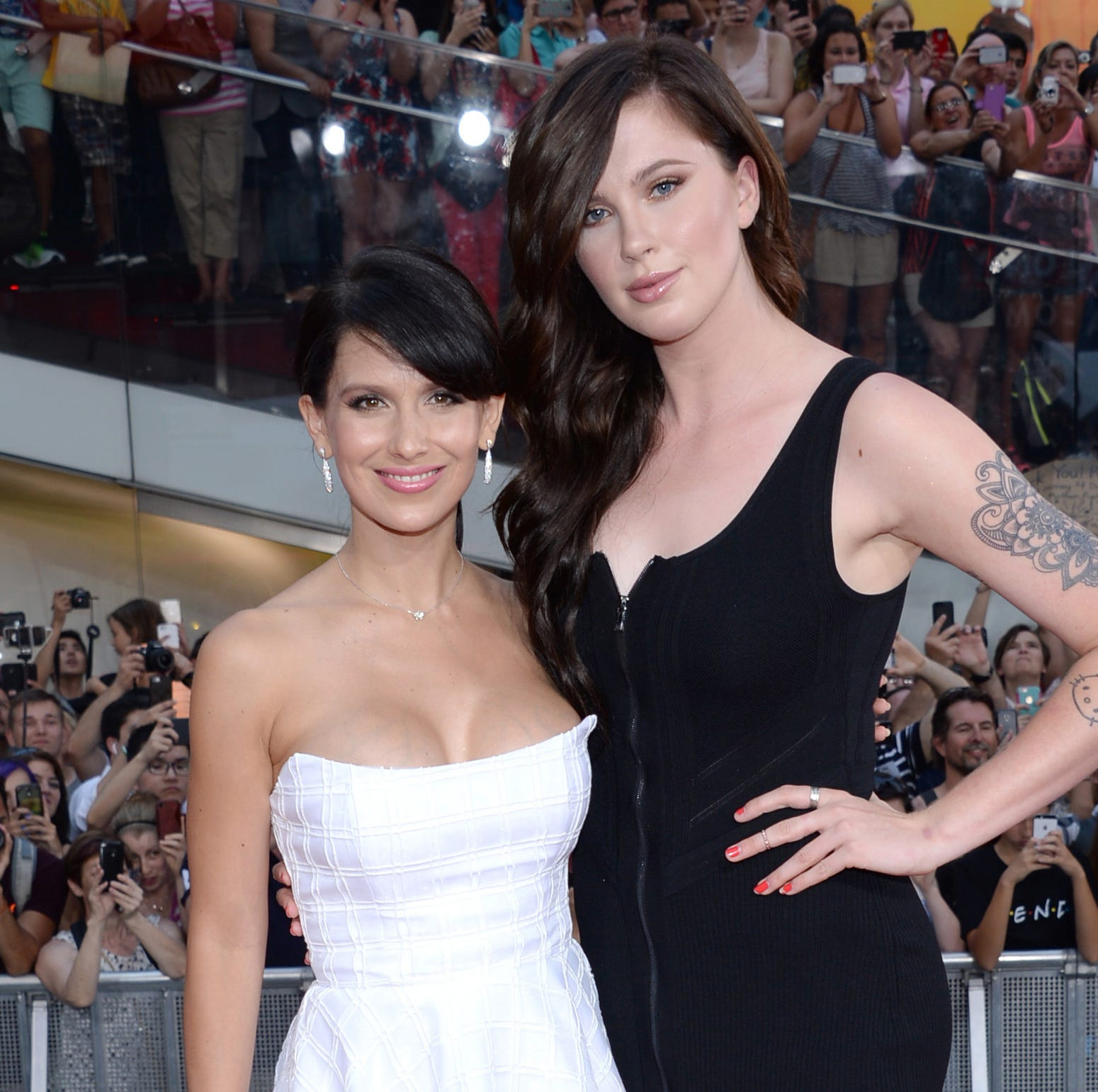 "Hilaria Baldwin, left, and Ireland Baldwin attend the premiere of ""Mission: Impossible - Rogue Nation"" in Times Square on Monday, July 27, 2015, in New York. (Photo by Evan Agostini/Invision/AP) ORG XMIT: NYPM123"