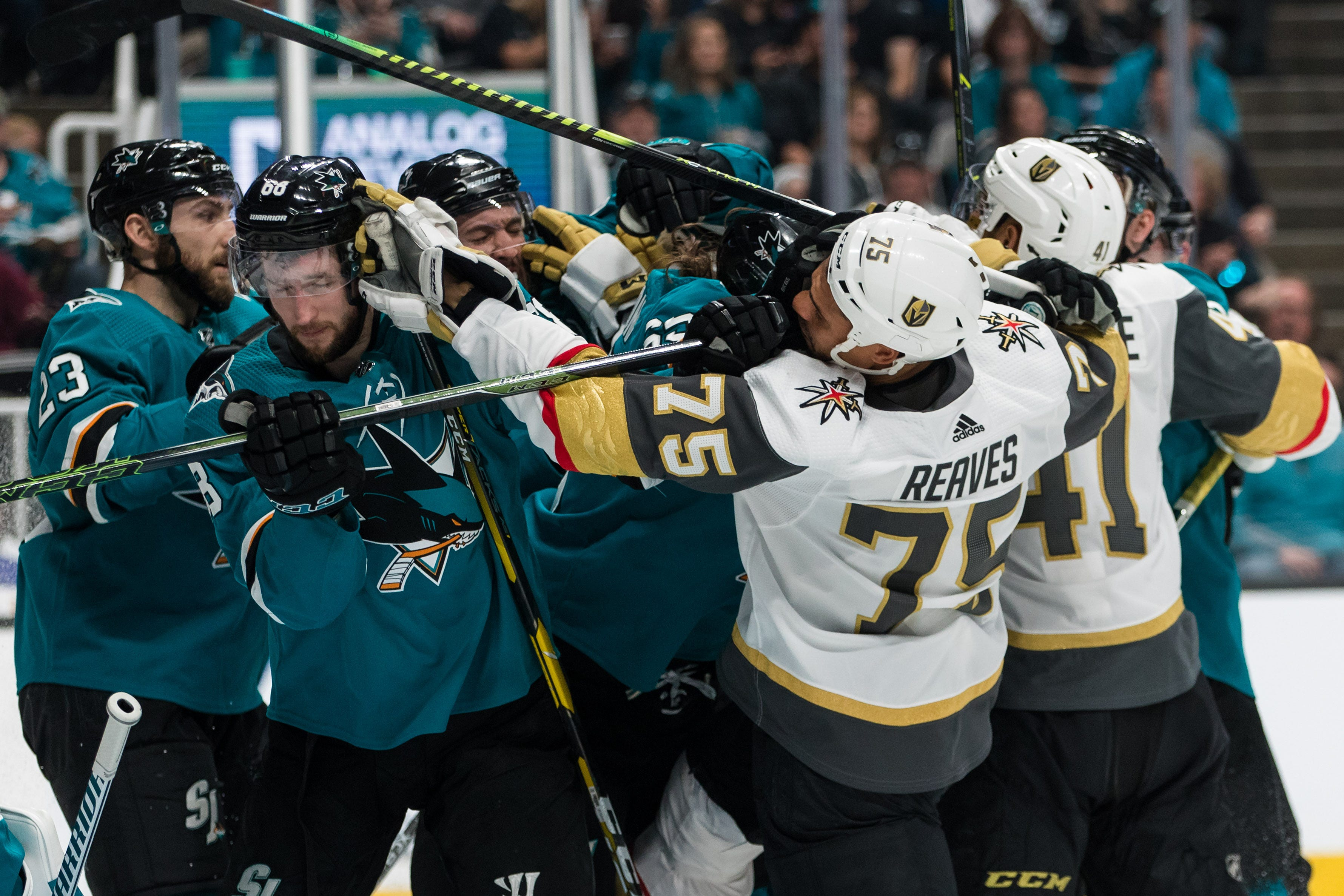 First round: San Jose Sharks players tussle with Vegas Golden Knights players in the second period of Game 5 at SAP Center at San Jose. The Sharks won the game, 5-2.