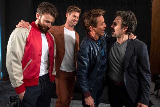 "Chris Evans (from left), Chris Hemsworth, Robert Downey Jr. and Mark Ruffalo get goofy during their USA TODAY photo shoot for ""Avengers: Endgame."""