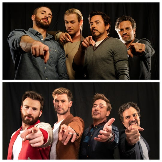 "Chris Evans (from left), Chris Hemsworth, Robert Downey Jr. and Mark Ruffalo pose before ""Avengers"" in 2012 (top) and seven years later for ""Avengers: Endgame."""