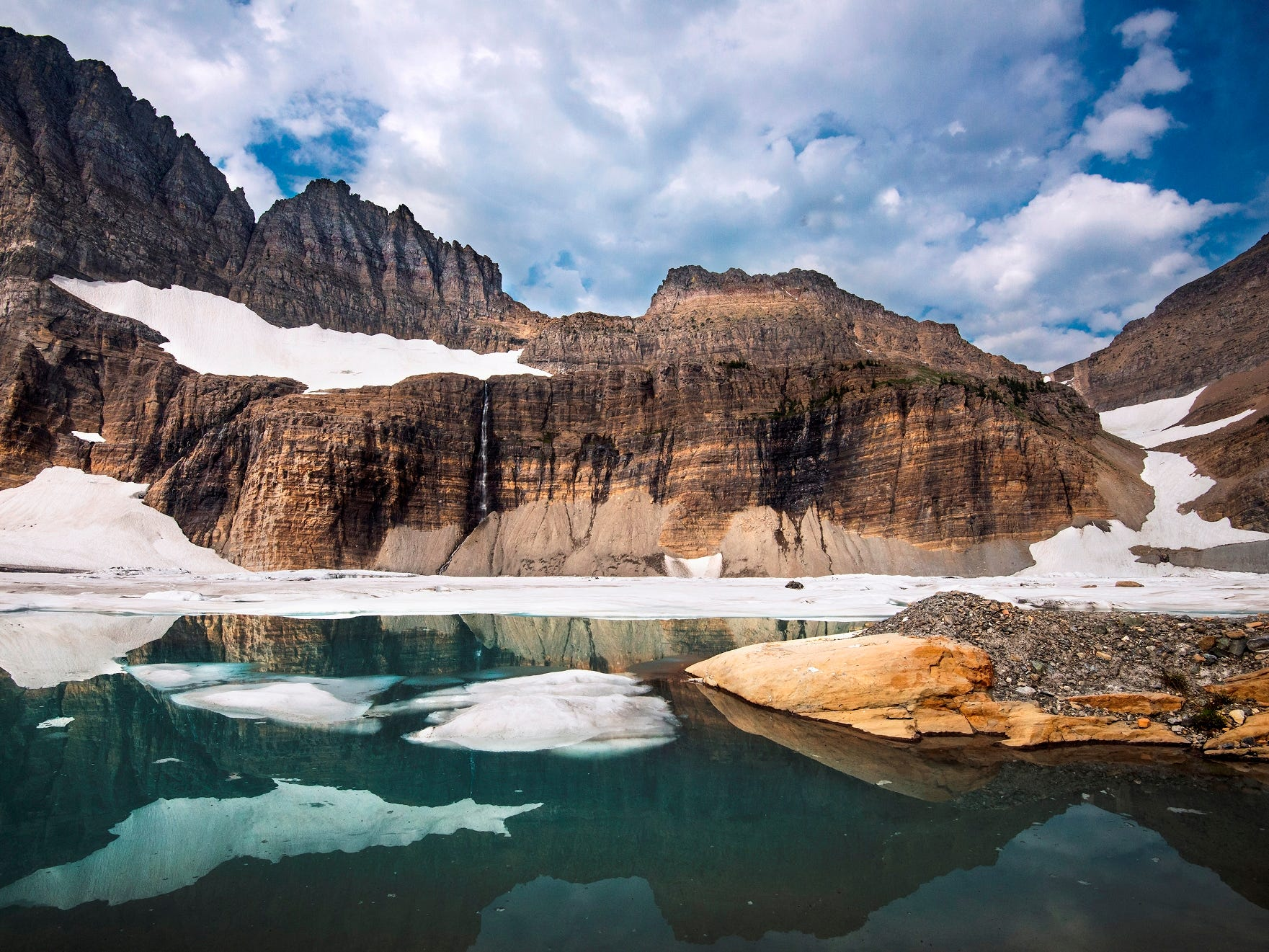 The glaciers of Glacier National Park have been in retreat for many years, peaking in the 19th century at the end of a period called the Little Ice Age.