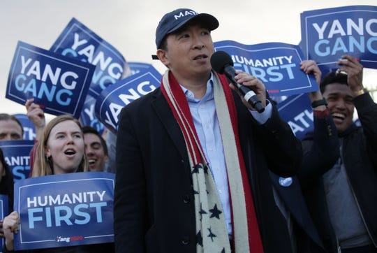Andrew Yang hosts a campaign rally at the Lincoln Memorial in Washington, D.C., on April 15, 2019.
