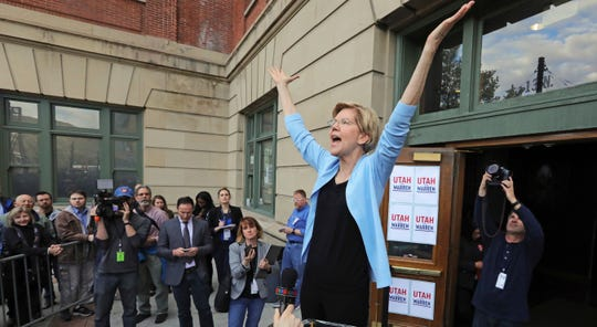 Sen. Elizabeth Warren, D-Mass., in Salt Lake City, Utah, on April 17, 2019.