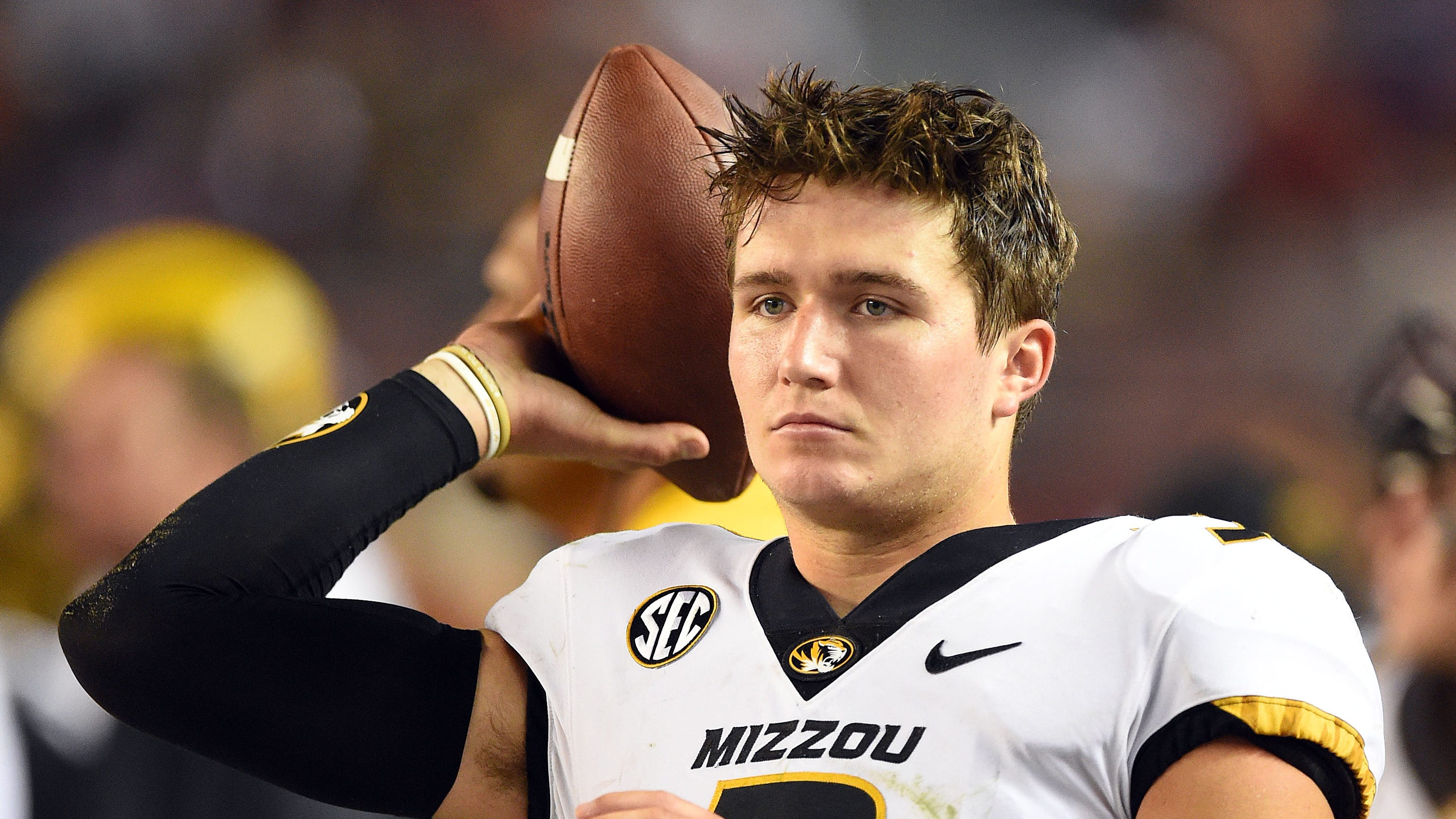 Missouri Tigers quarterback Drew Lock (3) tosses the ball on the sidelines against the Alabama Crimson Tide during the fourth quarter at Bryant-Denny Stadium.