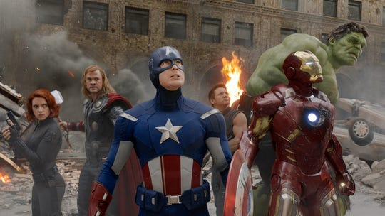 "Black Widow (Scarlett Johansson, left), Thor (Chris Hemsworth), Captain America (Chris Evans), Hawkeye (Jeremy Renner), Iron Man (Robert Downey Jr.), and Hulk (Mark Ruffalo) in 2012's ""The Avengers."""