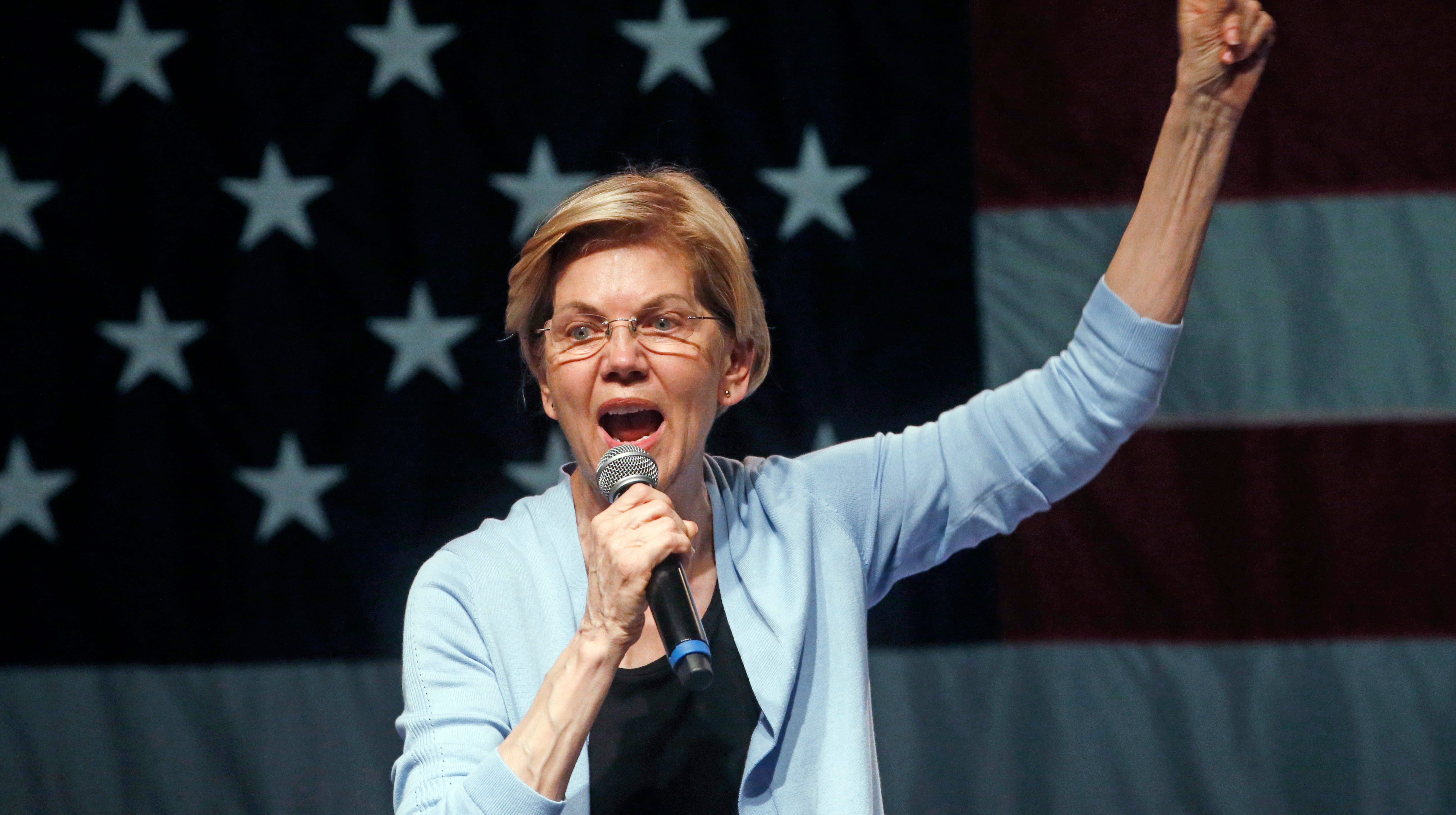 Democratic presidential candidate Sen. Elizabeth Warren, D-Mass., speaks during a campaign rally Wednesday, April 17, 2019, in Salt Lake City.