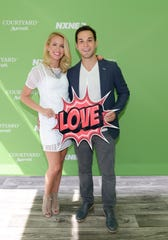 Anna Camp and Skylar Astin in Toronto on June 16, 2016.