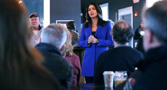 Rep. Tulsi Gabbard, D-Hawaii, in Peterborough, N.H., on March 22, 2019.