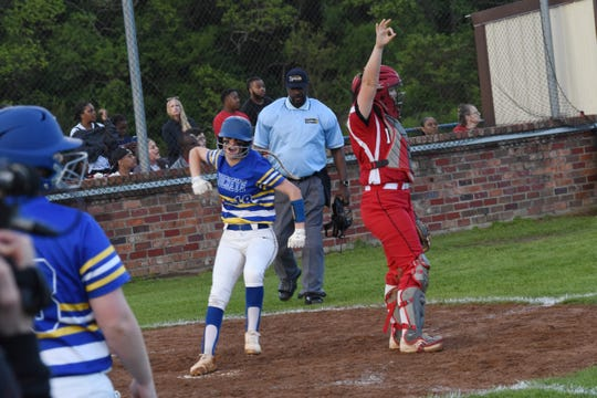 Buckeye pitcher Layni Smith (19) celebrates after scoring a run in the third inning against Tioga in the 2019 Allstate Sugar Bowl/LHSAA Softball State Tournament Class 4A quarterfinals held Friday, April 19, 2019. Buckeye won 4-3.