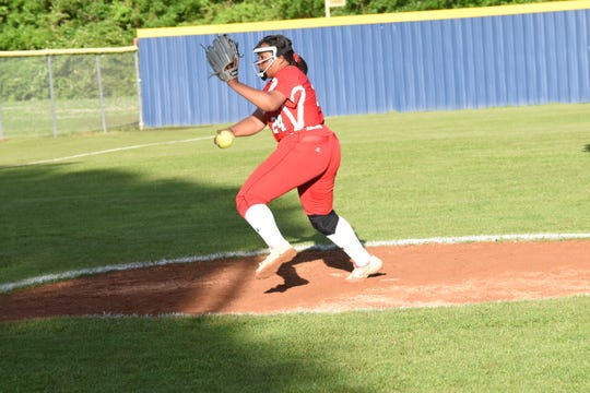 Tioga pitcher Kairah Williams (24) winds up a pitch against Buckeye in the 2019 Allstate Sugar Bowl/LHSAA Softball State Tournament Class 4A quarterfinals held Friday, April 19, 2019. Buckeye won 4-3.