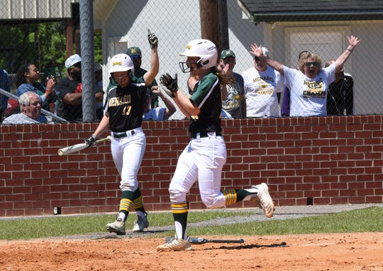Holy Savior Menard shortstop Karlee Lyles (1) celebrates after hitting a home run against Northlake Christian High School Saturday, April 20, 2019 in the 2019 Allstate Sugar Bowl/LHSAA Softball State Tournament  Division III quarterfinals. Lyles was named as a co-MVP in District 4-2A.