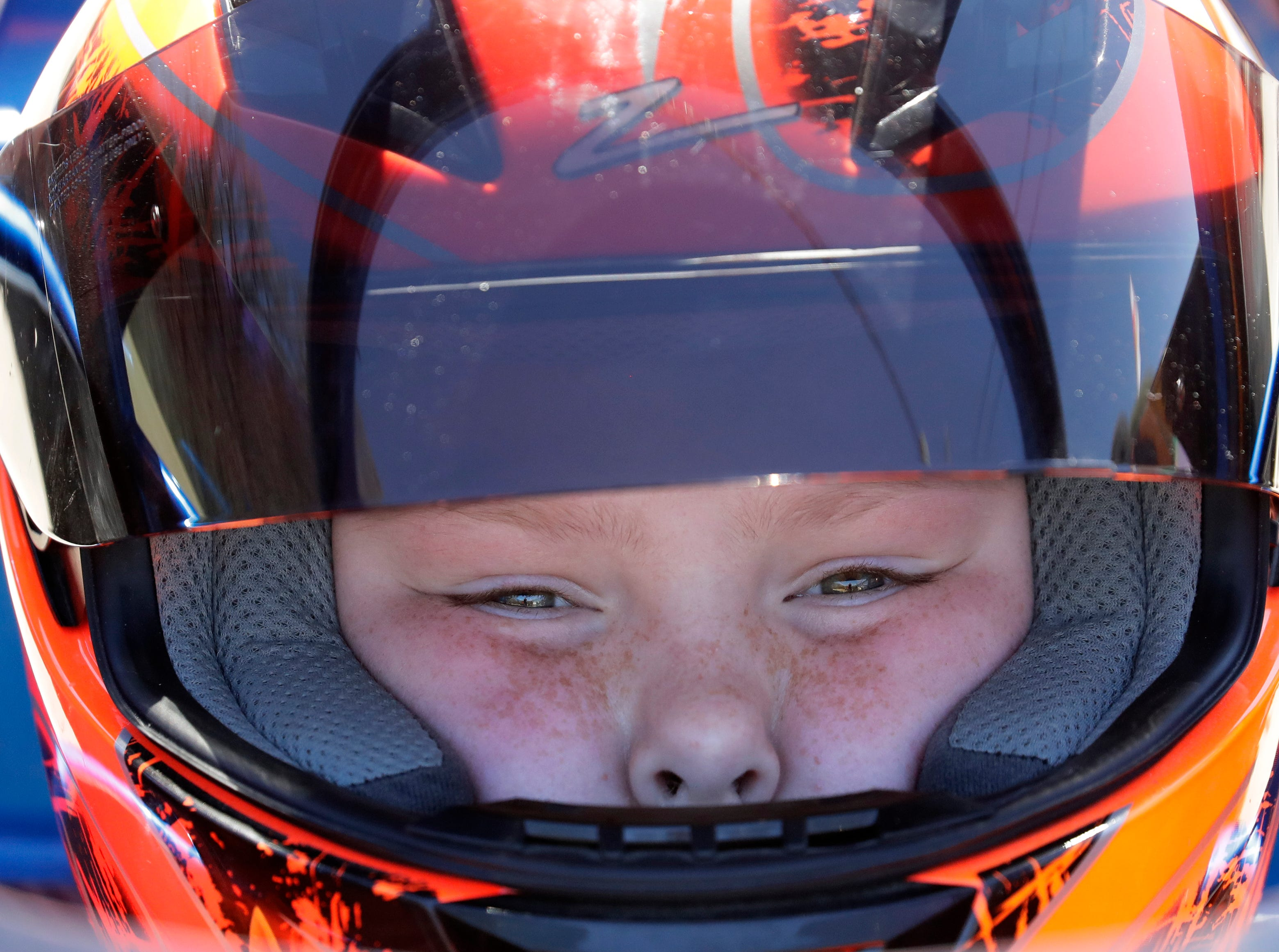 Braeden Emmer, 10, of Darboy is focused and ready to take his junior dragster for a practice run during the Wisconsin International Raceway Strip Test & Tune event Saturday, April 20, 2019, in Kaukauna, Wis.