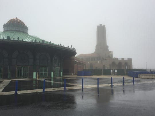 Rain and fog in Asbury Park by Casino Carousel House