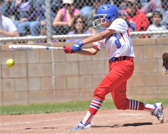 Cooper's Destiny Martinez gets a leadoff single during a 2019 game against Wylie. Martinez had two hits, scored two runs and had two RBIs as the Lady Coogs won their District 4-5A opener 12-2 in five innings at Wichita Falls High. For her efforts, Martinez is the ARN Local Player of the Week for the week ending March 14.