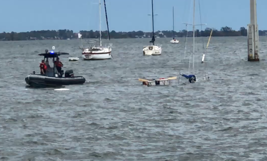 Severe storm sinks sailboat in Indian River Lagoon near Cocoa Village.