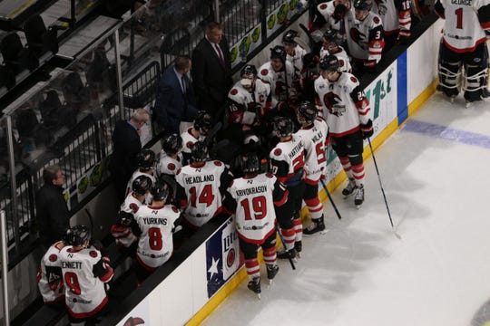 The IceRays meet at their bench during Game 4 of a playoff series against Amarillo on Friday, April 19, 2019 at the American Back Center in Corpus Christi, Texas.