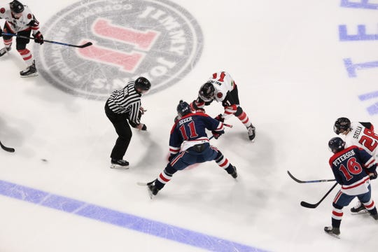 The IceRays and Amarillo Bulls get ready for a face off during their playoff series on Friday, April 19, 2019 at the American Bank Center in Corpus Christi, Texas.