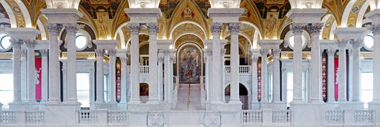 Great Hall. View from the second floor west corridor. Library of Congress Thomas Jefferson Building, Washington, D.C.