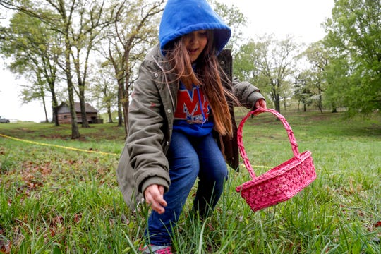 An egg hunter reaches down to pluck an egg from a tall patch of grass at the annual Easter egg hunts at Historic Collinsville in Clarksville, Tenn., on Saturday, April 20, 2019.