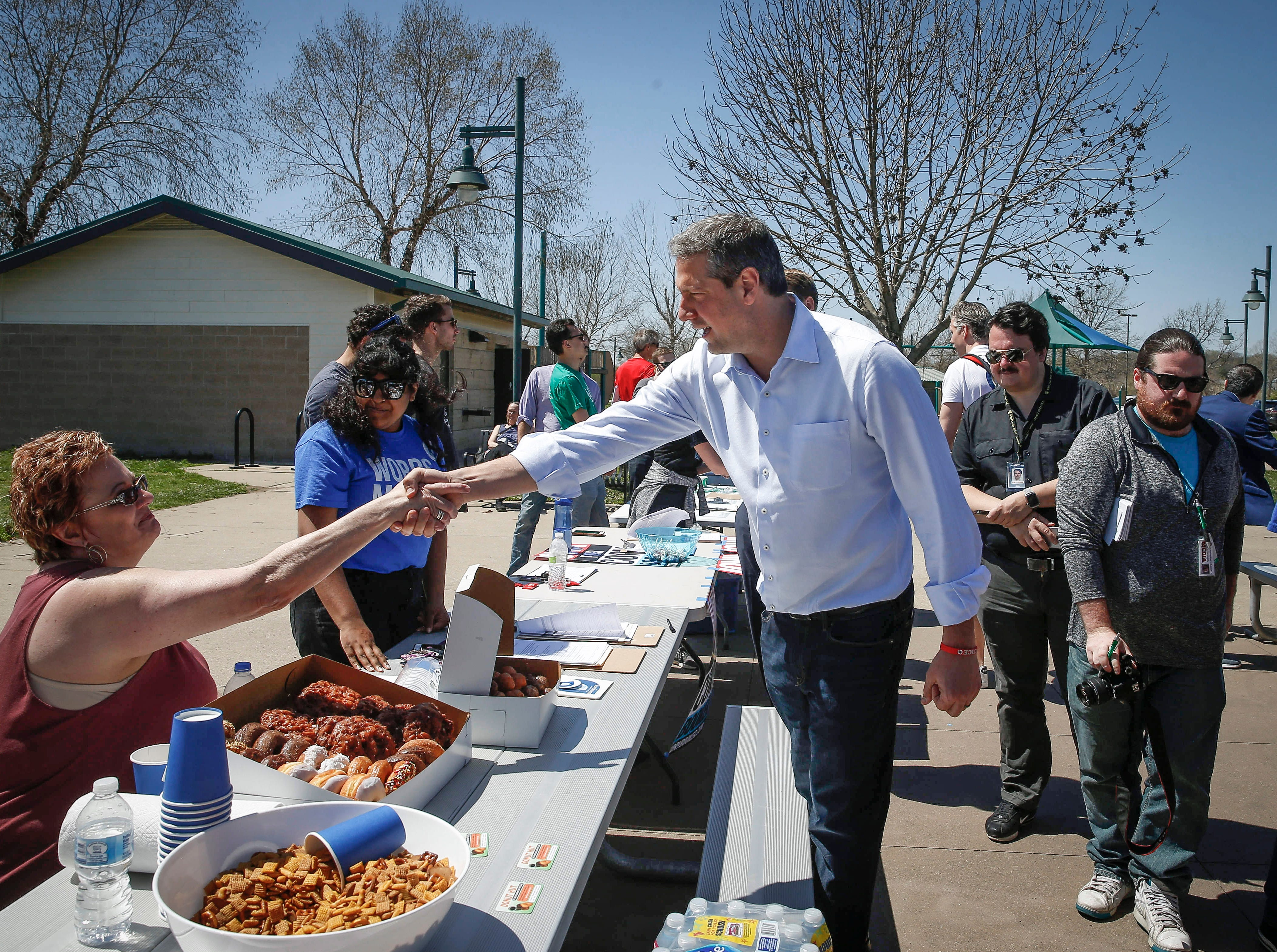 Representative and democratic presidential candidate hopeful Tim Ryan (D-Ohio) met with young democrats at Raccoon River Park in West Des Moines on Saturday, April 20, 2019.
