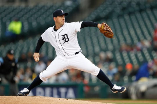 Detroit Tigers starting pitcher Jordan Zimmermann (27) pitches against the Chicago White Sox during the first inning at Comerica Park on April 19, 2019 in Detroit