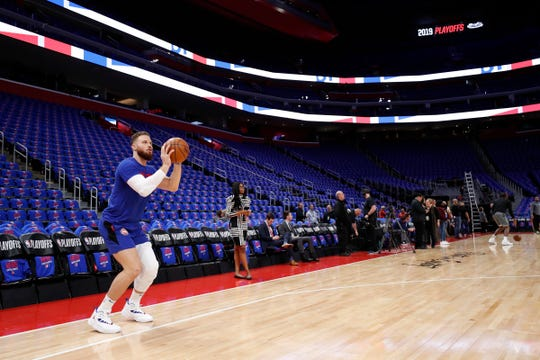 Blake Griffin warms up Saturday evening before Game 3 against the Bucks at Little Caesars Arena.