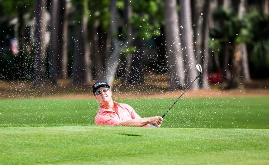 Charley Hoffman hits a bunker shot during the second round of the RBC Heritage on Friday.