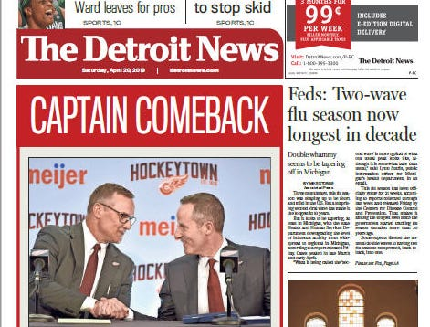 The front page of the Detroit News on April 20, 2019.