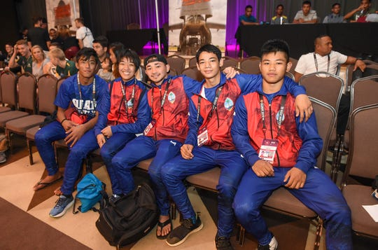 Members of the Guam Wrestling National Team during the United World Wrestling Oceania Championships Yona 2019 at LeoPalace Resort Guam in Yona, April 20, 2019.