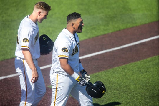 Iowa infielder Izaya Fullard (20) celebrates after hitting a home run in the bottom of the fifth during a NCAA Big Ten Conference baseball game Saturday, April 20, 2019, at Duane Banks Field in Iowa City, Iowa.