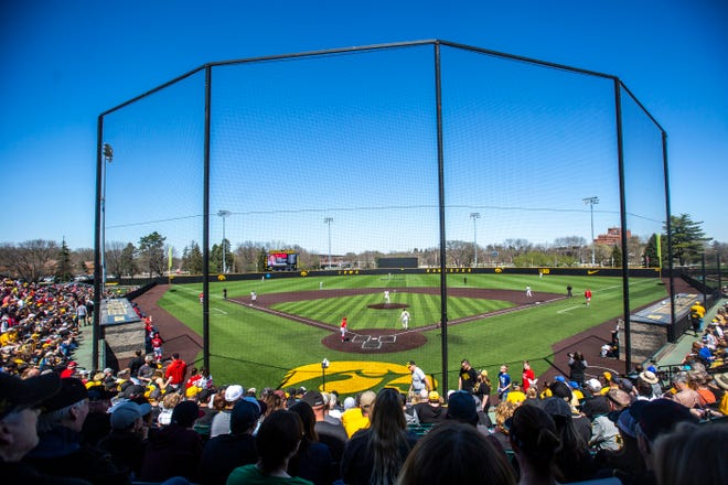 A view of Banks Field at an Iowa-Nebraska series in late April of 2019.