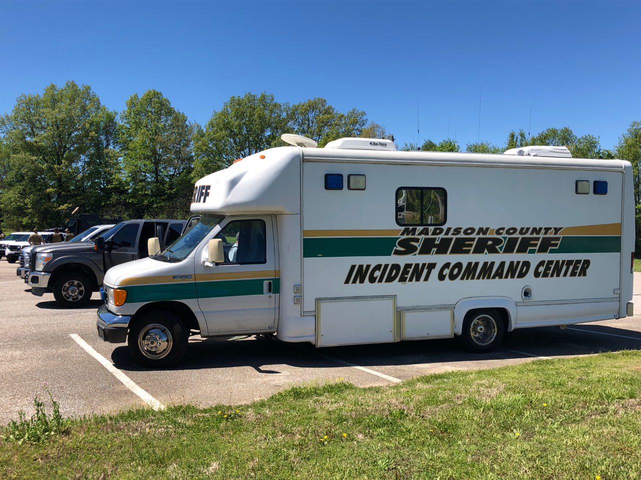 The Madison County Sheriff mobile Incident Command Center is on scene at the initial staging site at Friendship Elementary School in response to an allegedly armed suspect barricaded in a Friendship residence Saturday at around 12:45 p.m.