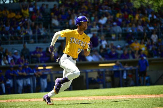 LSU baseball's CJ Willis rounds the bases.