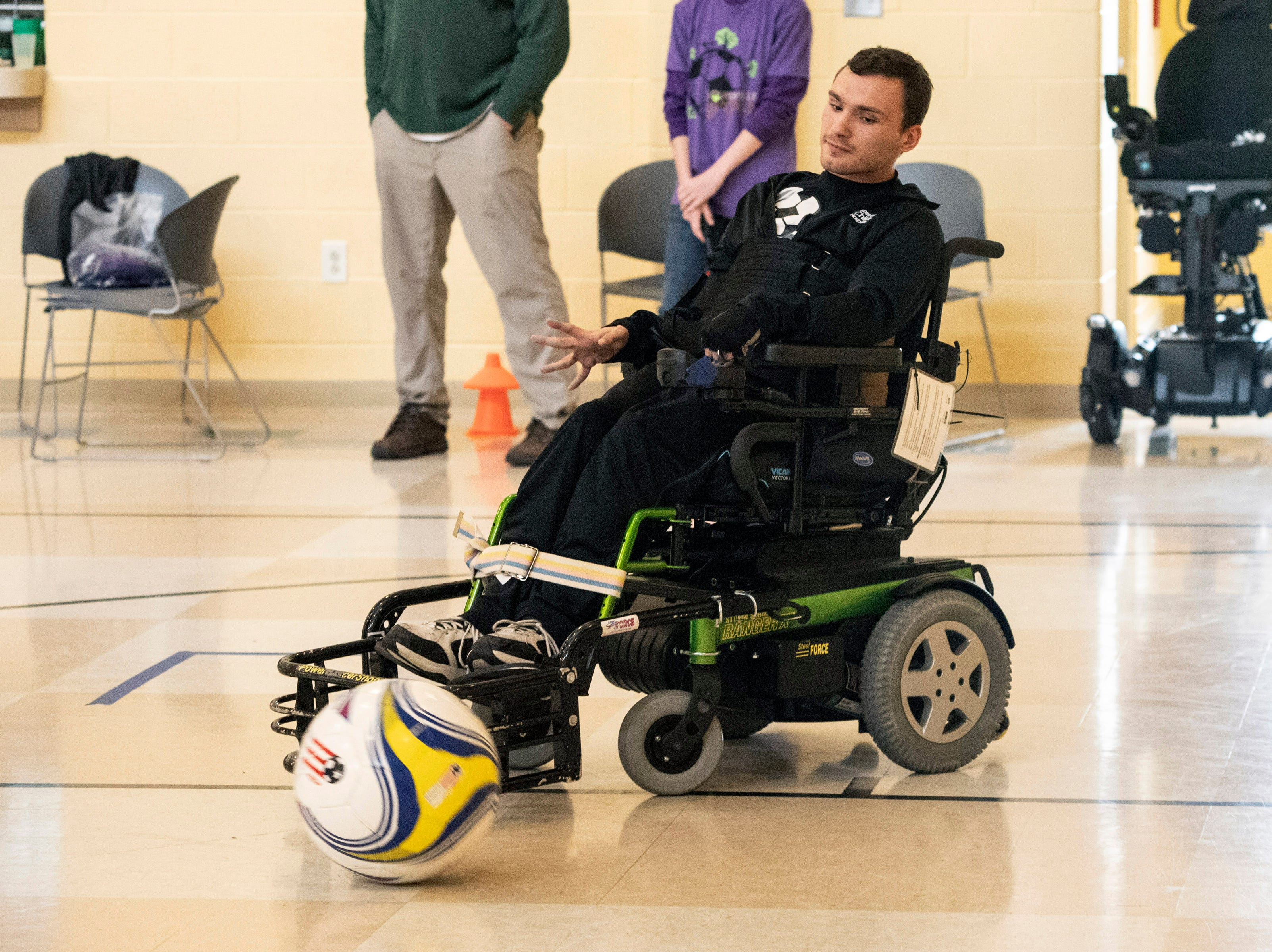 Caleb Lammert moves the ball with ease during a Louisville City Power Soccer practice. April 20, 2019