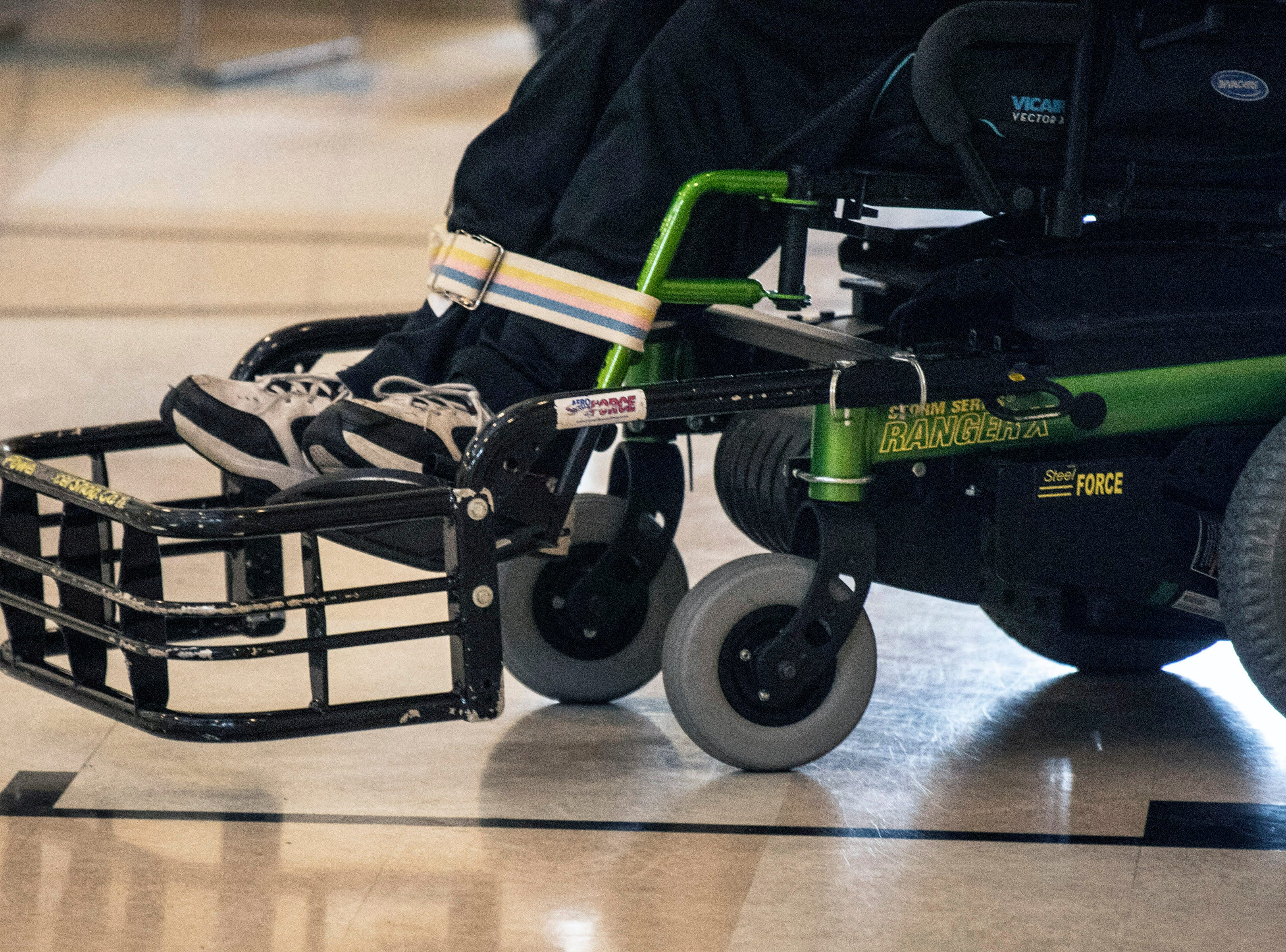 Extended fronts on the powerchair allow the ball to be moved up and down the court by the Louisville City Power Soccer team. April 20, 2019