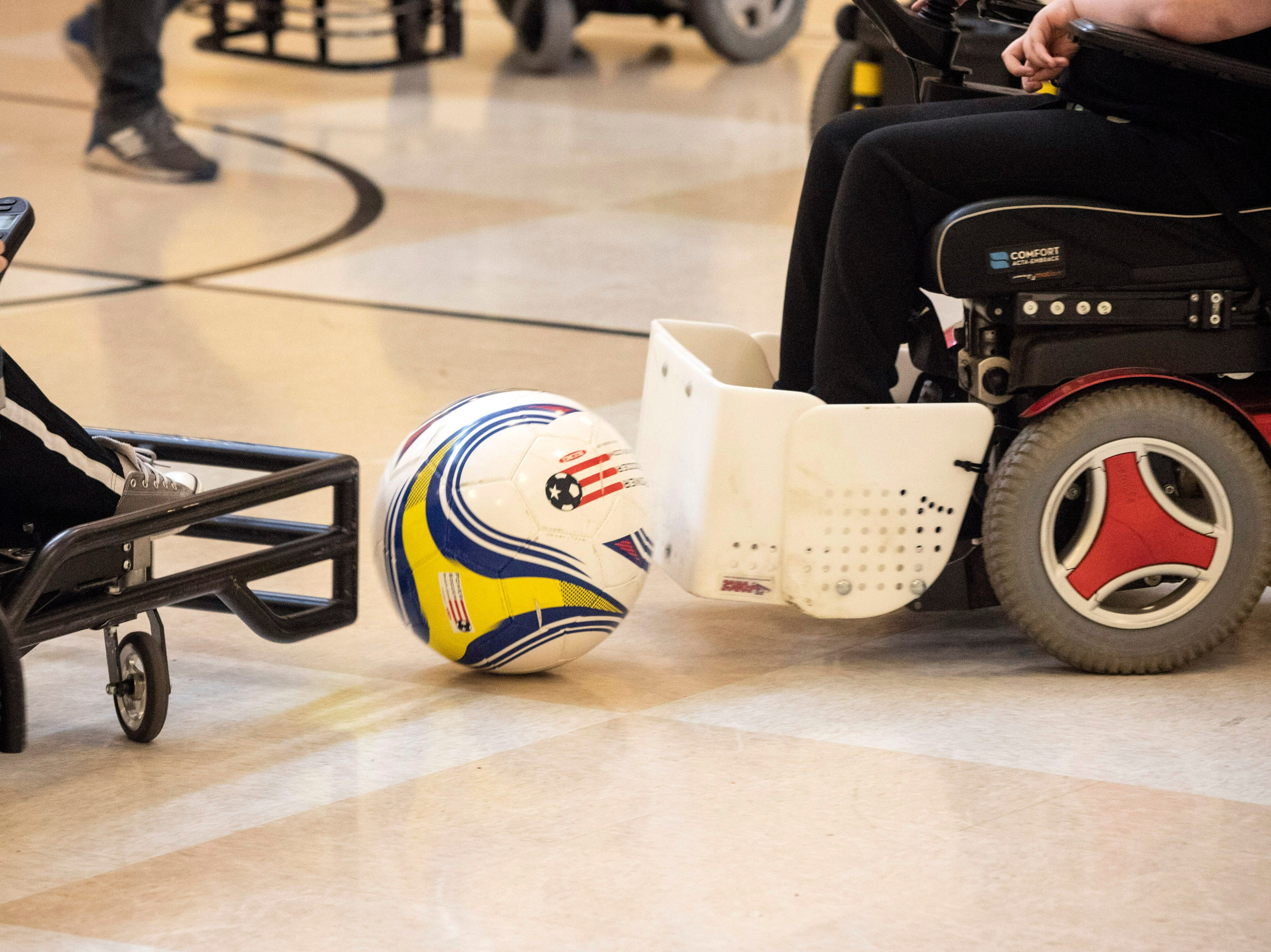A slightly larger ball is used to play powerchair soccer. April 20, 2019