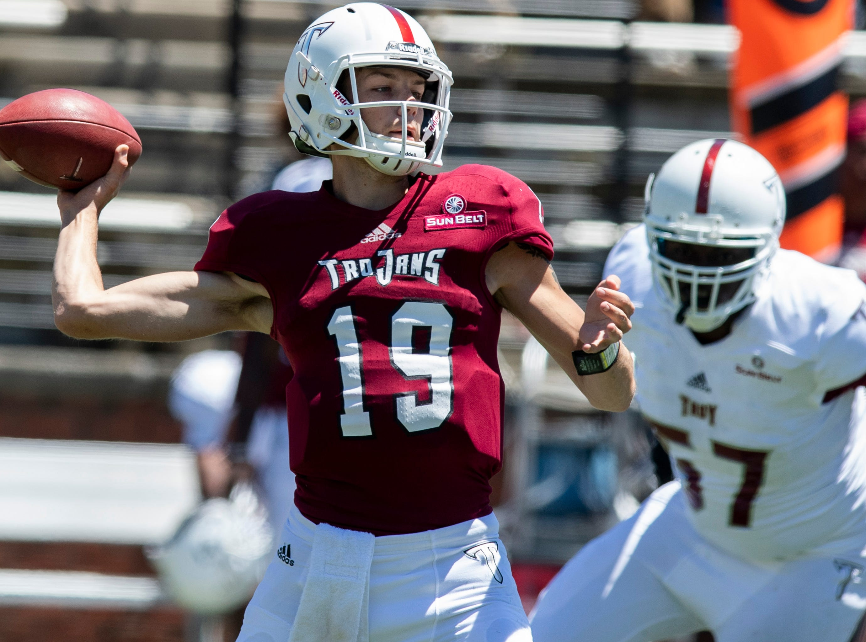 Troy quarterback Kade Young (19) passes during the Troy University T-Day spring scrimmage game in Troy, Ala., on Saturday April 20, 2019.