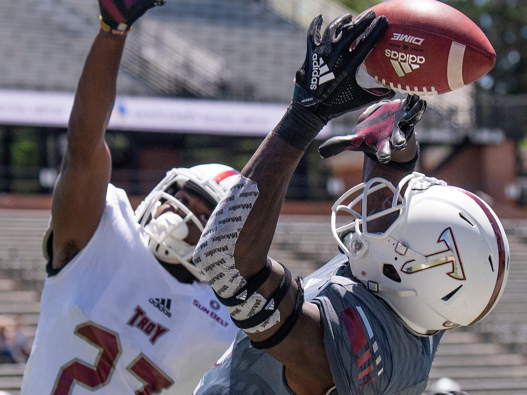Troy corner back Jawon McDowell (27) breaks up a pass intended for wide receiver Reggie Todd (2) during the Troy University T-Day spring scrimmage game in Troy, Ala., on Saturday April 20, 2019.