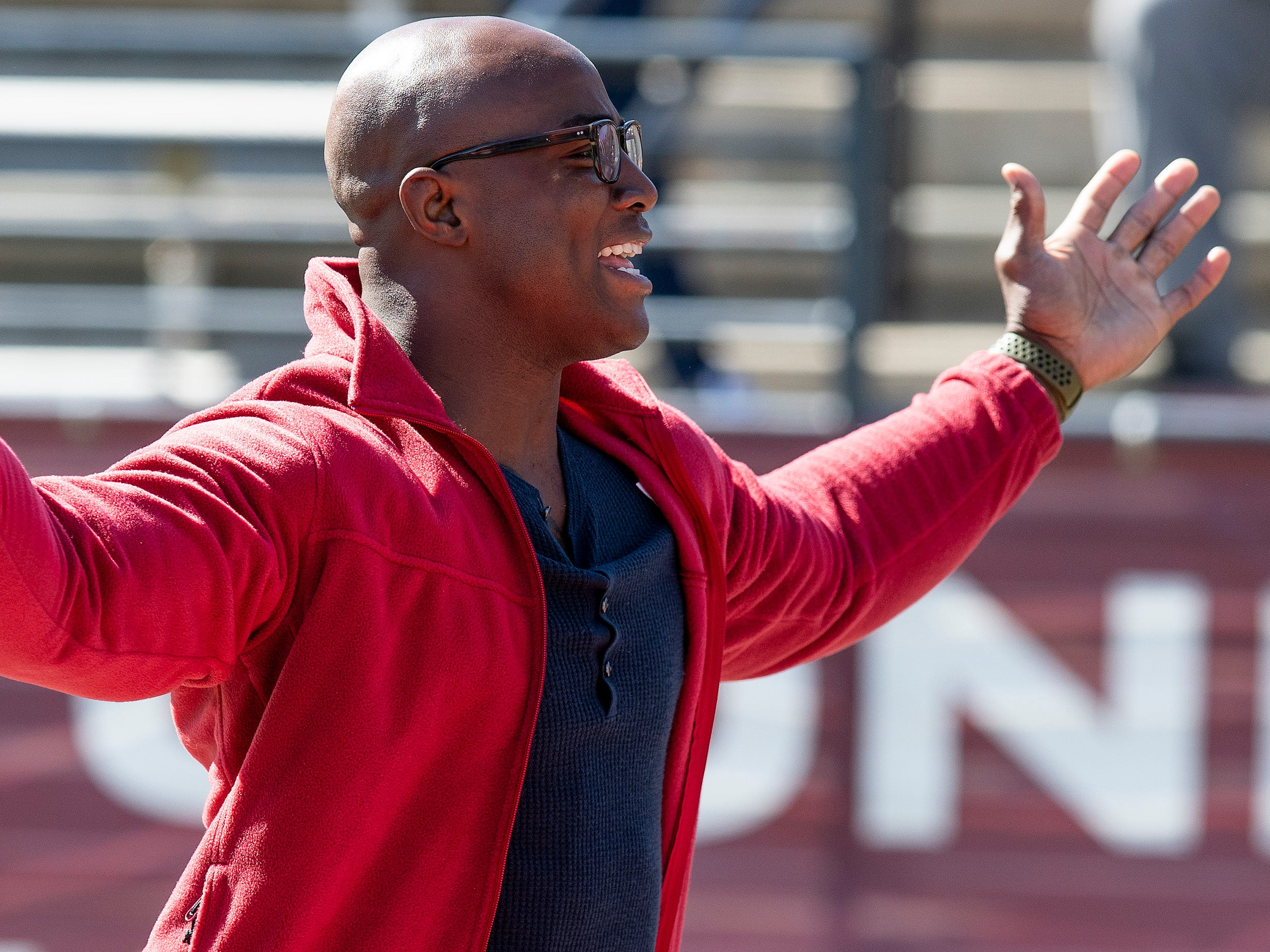 Former Troy University and NFL player DeMarcus Ware attends the Troy University T-Day spring scrimmage game in Troy, Ala., on Saturday April 20, 2019.