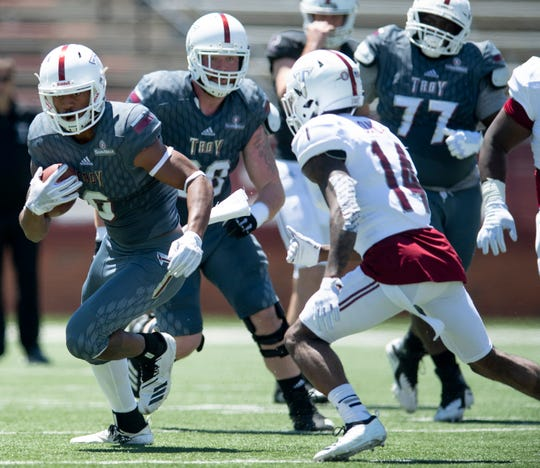 Troy wide receiver Khalil McClain (6) during the Troy University T-Day spring scrimmage game in Troy, Ala., on Saturday April 20, 2019.