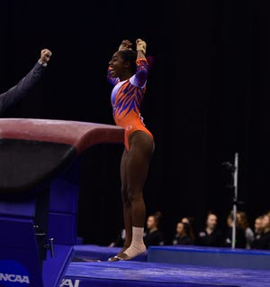 Auburn reshman Derrian Gobourne wins a share of the NCAA vault title Friday, April 19, 2019, in Fort Worth, Texas