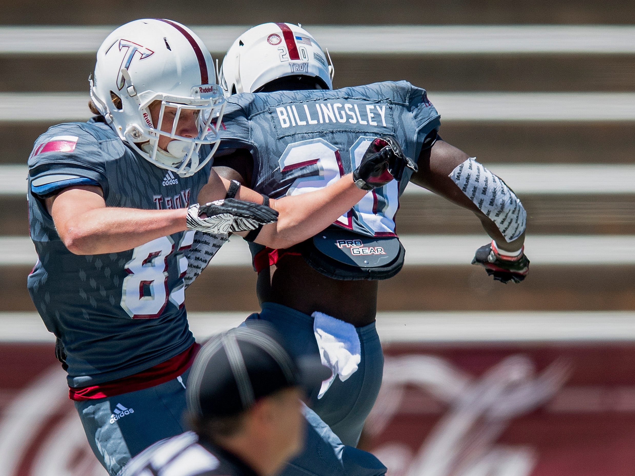 Troy wide receiver Luke Whittemore (83) celebrates with running back DK Billingsley (20) after scoring a touchdown during the Troy University T-Day spring scrimmage game in Troy, Ala., on Saturday April 20, 2019.